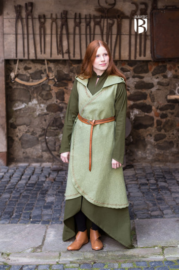 Wrap Dress with pointed hood linden green