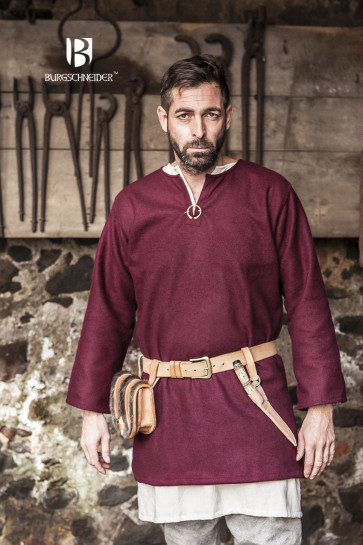 Red Wool Tunic with Undertunic for cold days