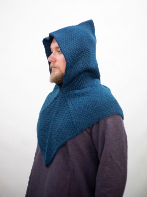 Knitted Wool Gugel Asbjorn - Petrol blue